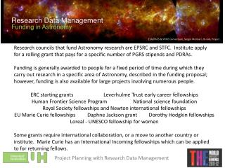 Research Data Management Funding in Astronomy