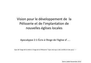 Vision pour le développement de  la Pélisserie et de l'implantation de nouvelles églises locales