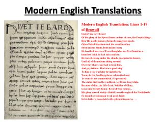 Modern English  Translations