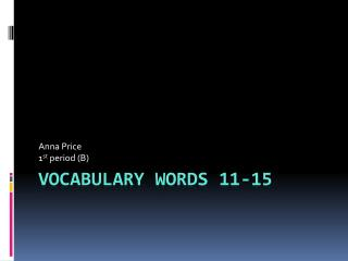 Vocabulary Words 11-15