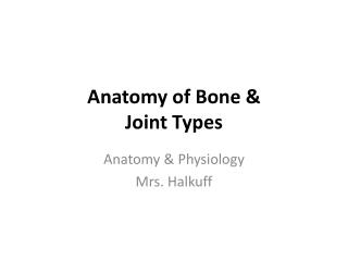 Anatomy of Bone & Joint Types