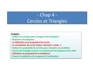 -  Chap  4 -  Cercles  e t Triangles
