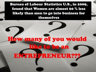 How many of you would like to be an ENTREPRENEUR???