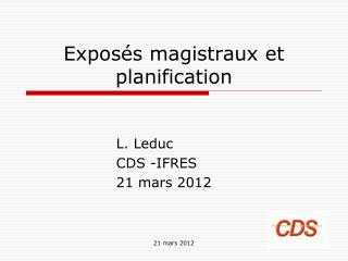 Expos�s magistraux et planification