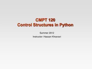 CMPT  120  Control Structures in Python