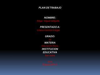 PLAN DE TRABAJO NOMBRE: Edgar miguel delgado PRESENTADO A: Liliana marcela Vargas GRADO: 10