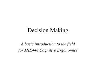 Decision Making