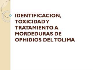 IDENTIFICACION, TOXICIDAD Y TRATAMIENTO A MORDEDURAS DE OPHIDIOS DEL TOLIMA