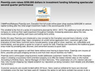 PawnUp.com raises $250,000 dollars in investment funding fol