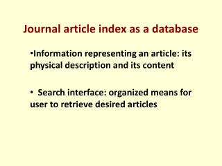 Journal article index as a database