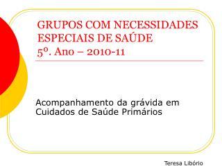 GRUPOS COM NECESSIDADES ESPECIAIS DE SA�DE 5�. Ano � 2010-11