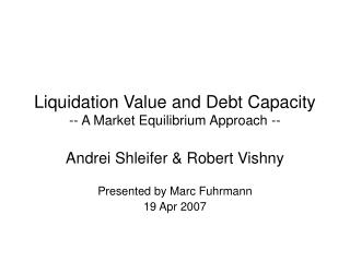 Liquidation Value and Debt Capacity -- A Market Equilibrium ...