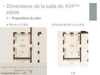 Dimensions de la salle du XVI ème  siècle