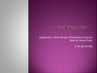 """I love English"""