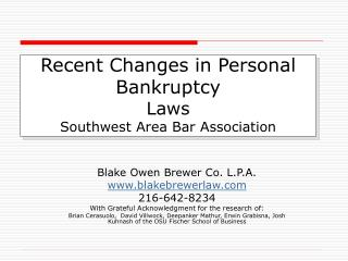 Recent Changes in Personal Bankruptcy Laws Southwest Area Bar ...