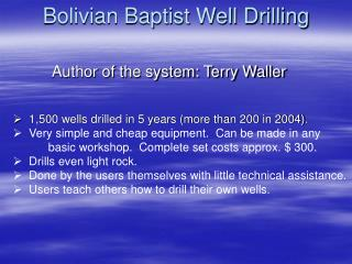 Bolivian Baptist Well Drilling