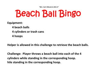 """Mrs .  Cav's Minute to Win it"" Beach Ball Bingo Equipment: 4 beach balls"