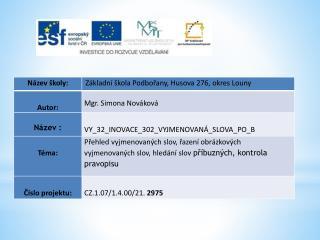 Datum vytvoření  : 05.01.2012 Klíčová slova  : vyjmenované slovo, slovo příbuzné