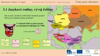 3.1 Jazykové rodiny, vývoj češtiny