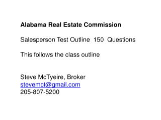 Alabama Real Estate Commission  Salesperson Test Outline  150  Questions