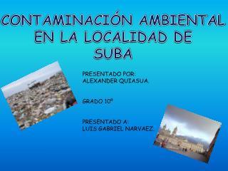 CONTAMINACIÓN AMBIENTAL  EN LA LOCALIDAD DE SUBA