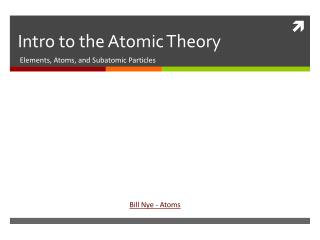 Intro to the Atomic Theory