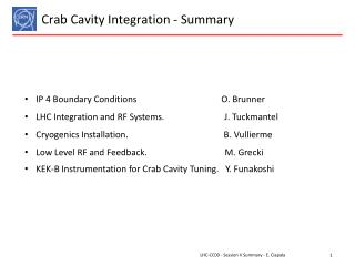 Crab  C avity Integration -  Summary