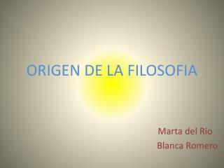 ORIGEN DE LA FILOSOFIA