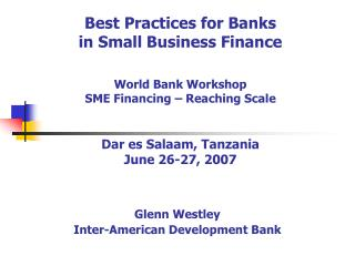 Best Practices for Banks in Small Business Finance