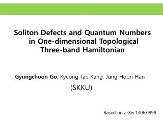 Soliton  Defects and Quantum Numbers  in One-dimensional Topological  Three-band Hamiltonian