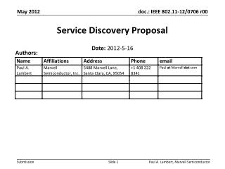 Service Discovery  Proposal