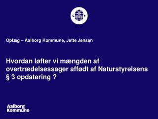 Oplæg – Aalborg Kommune, Jette Jensen