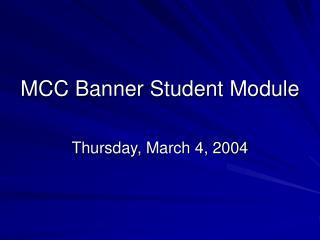 MCC Banner Student Module