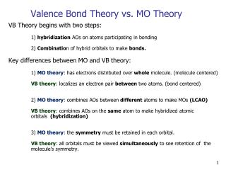 Valence Bond Theory vs. MO Theory