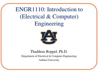 ENGR1110: Introduction to  (Electrical & Computer) Engineering