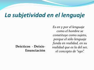 La subjetividad en el lenguaje