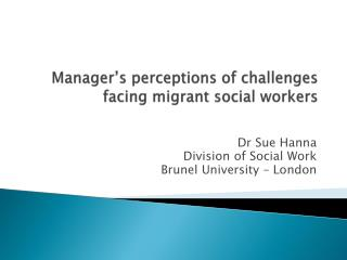 Manager's perceptions of challenges facing migrant social workers