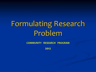 Formulating Research Problem