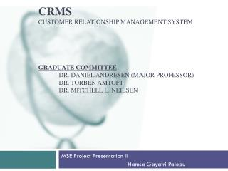 MSE Project Presentation II                                      -Hamsa Gayatri Palepu