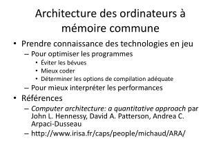 Architecture des ordinateurs à mémoire commune