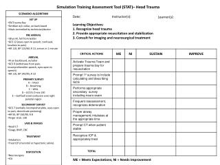 Simulation Training Assessment Tool (STAT)– Head Trauma