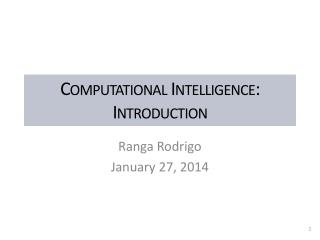 Computational Intelligence: Introduction