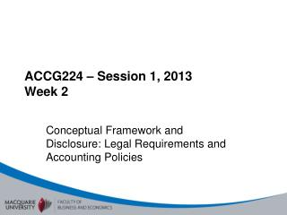 ACCG224  – Session 1, 2013 Week 2