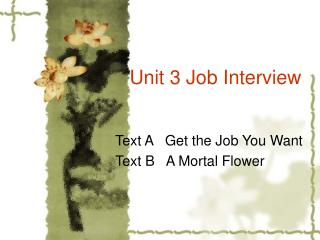 Unit 3 Job Interview