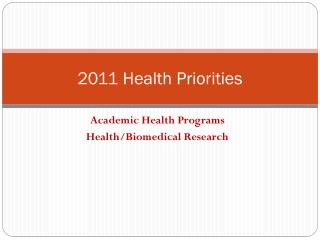 2011 Health Priorities