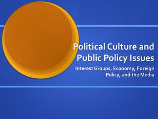 Political  Culture and  Public Policy Issues