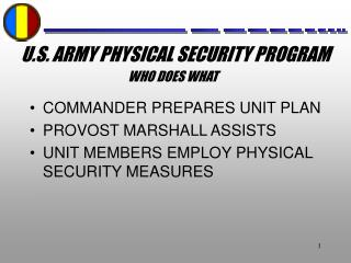 U.S. ARMY PHYSICAL SECURITY PROGRAM