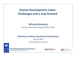 Milorad Kovacevic Human Development Report Office, UNDP Workshop on Measuring Human Development,