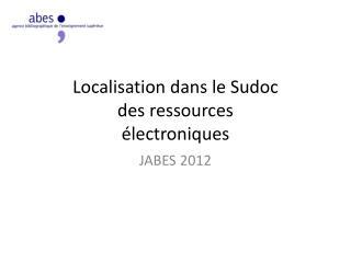 Localisation dans le  Sudoc des  ressources électroniques