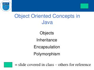 Object Oriented Concepts in Java